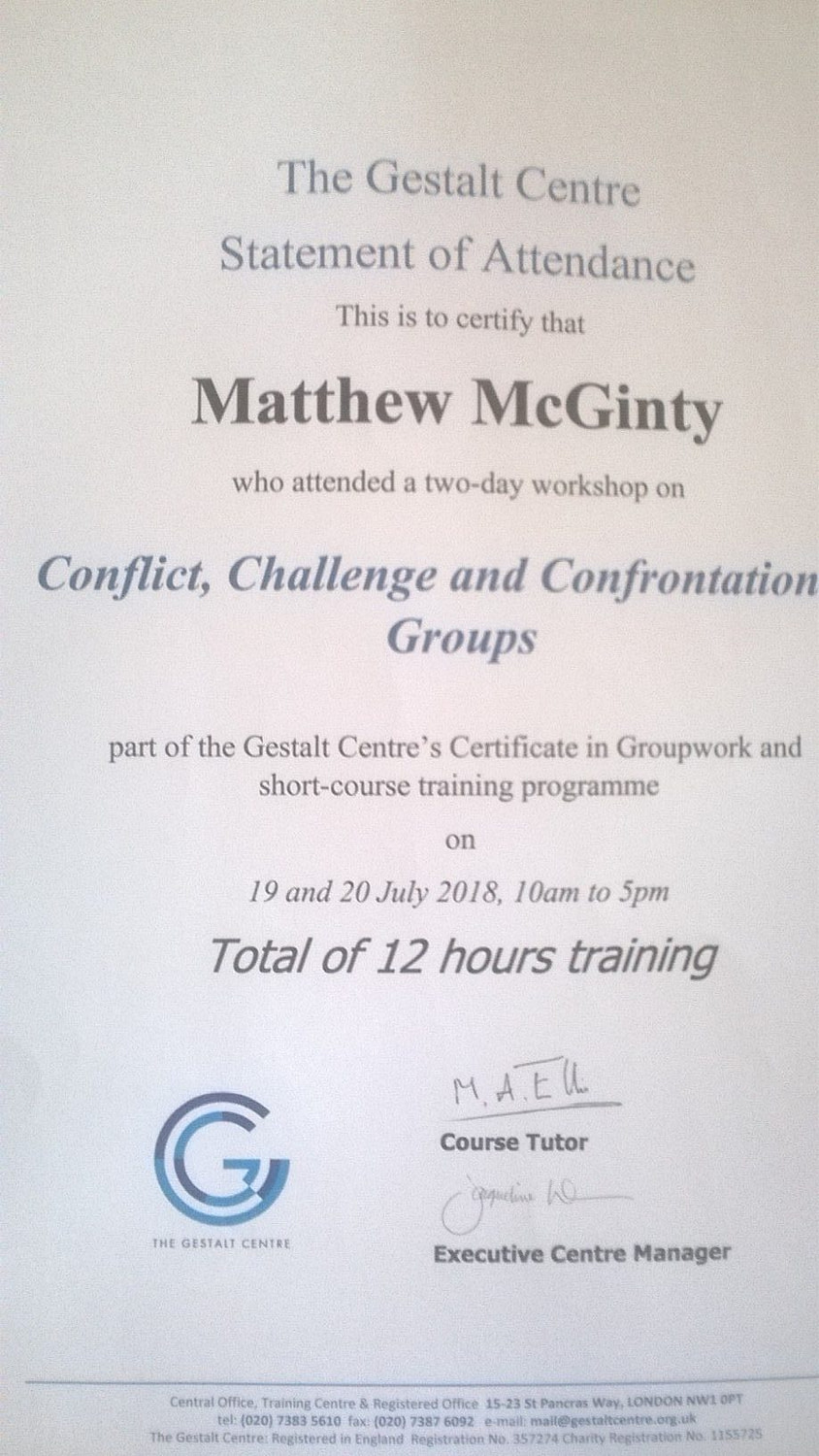 Conflict and Challenge in Groups Certificate