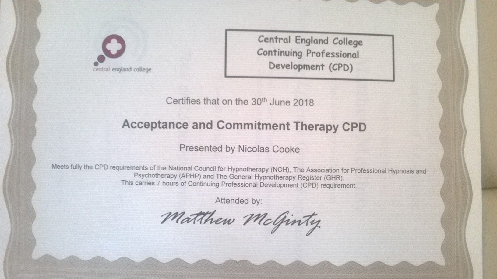 Acceptance and Commitment Therapy Certificate